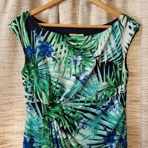 5/$25 Dressbarn Tropical Dress Blue Green 4 PETITE